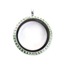 Floating memory lockets Zilveren memory locket met strass groen rond large