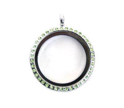 Floating memory lockets Zilveren memory locket met strass groen rond large