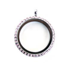 Floating locket Zilveren memory locket rond large strass roze