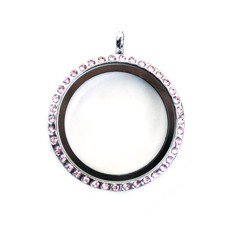 Floating memory lockets Zilveren memory locket met strass roze rond large