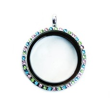 Floating locket Zilveren memory locket rond large strass gekleurd