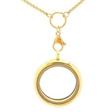 Floating memory lockets Gouden memory locket rond Xlarge inclusief medium loop ketting