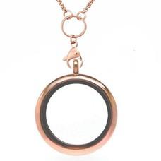 Floating locket Rosé gouden memory locket rond XL met ketting