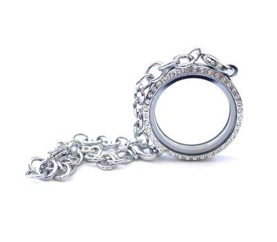 Floating memory lockets Zilveren memory locket armband met strass rond large