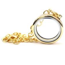Floating memory lockets Gouden memory locket armband rond large
