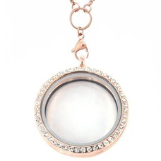 Floating locket Rosé gouden memory locket rond XL strass met ketting