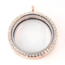 Floating locket Rosé gouden memory locket rond XL strass