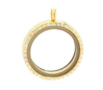 Floating locket Gouden memory locket rond XL strass