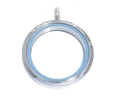 Floating locket Zilveren memory locket rond XL
