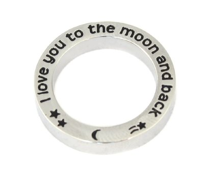 Floating locket  discs Memory locket open disk to the moon zilver large