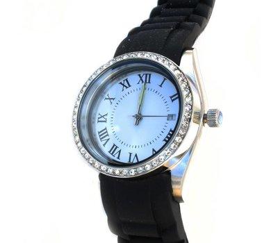 Floating locket Twist rvs zilveren memory locket horloge zwart