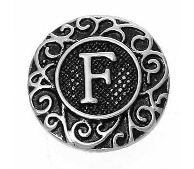 Clicks en Chunks | Click letter F zilver voor clicks sieraden