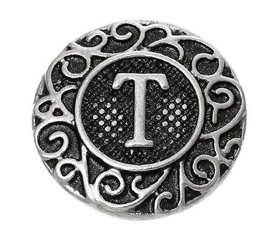 Clicks en Chunks | Click letter T zilver voor clicks sieraden