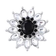 Clicks / Chunks Click flower crystal zwart wit zilver