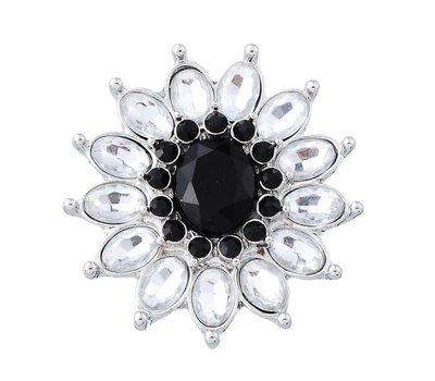 Clicks en Chunks | Click flower crystal zwart wit zilver