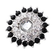 Clicks en Chunks | Click bling bloem zwart wit zilver