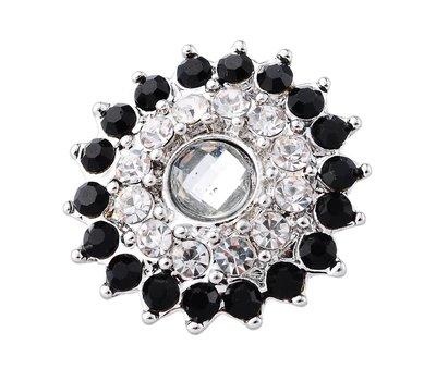 Clicks / Chunks Click bling bloem zwart wit zilver
