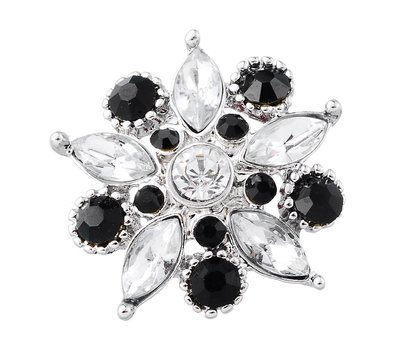Clicks / Chunks Click star flower zwart wit zilver