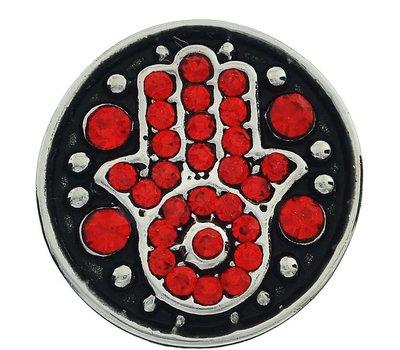 Clicks en Chunks | Click hamsa met rode crystals zilver