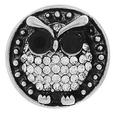 Clicks en Chunks | Click uil met zwart witte crystals zilver