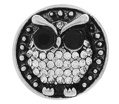 Clicks / Chunks Click uil met zwart witte crystals zilver