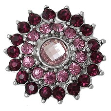 Clicks / Chunks Click bling bloem paars roze zilver