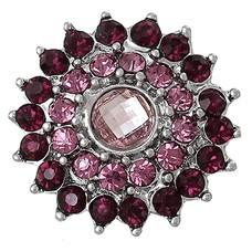 Clicks en Chunks | Click bling bloem paars roze zilver
