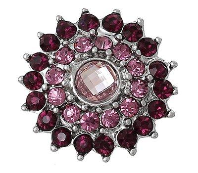 Clicks / Chunks Click bling bloem paars roze zilver