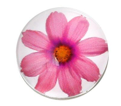Clicks en Chunks | Click pink flower zilver