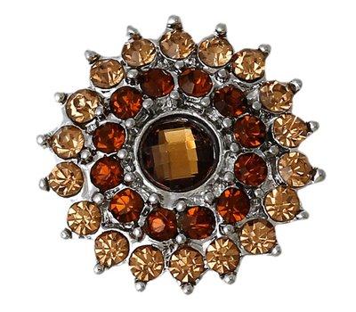 Clicks en Chunks | Click bling bloem bruin zilver