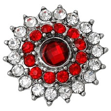 Clicks / Chunks Click bling bloem rood wit zilver