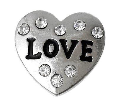 Clicks en Chunks   Click hart love crystals zilver