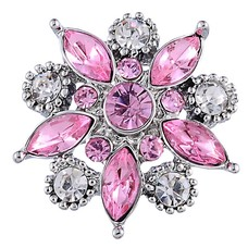 Clicks en Chunks | Click star flower roze wit zilver