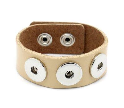 Clicks Sieraden Clicks armband leer beige