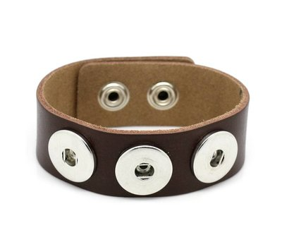 Clicks Sieraden Clicks armband leer donker bruin
