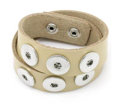 Clicks Sieraden Clicks armband leer dubbel beige