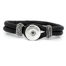 Clicks Sieraden Clicks knoop armband leer zwart