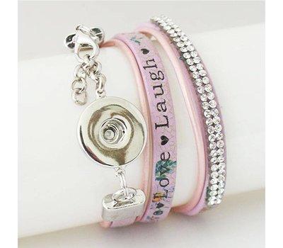 Clicks Sieraden Clicks armband leer paars live love laugh