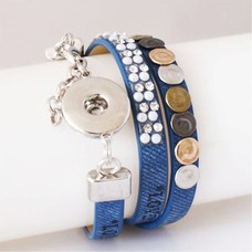 Clicks Sieraden Clicks armband leer blauw love hope happiness