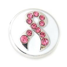 Clicks en Chunks | Click pink ribbon met strass zilver
