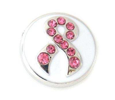 Clicks en Chunks   Click pink ribbon met strass zilver