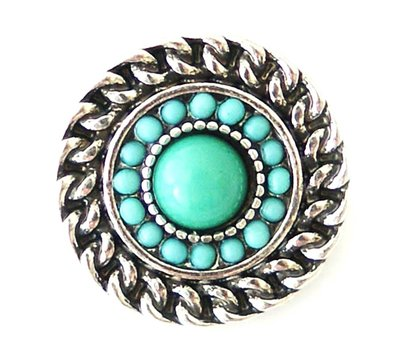 Clicks en Chunks | Click rond turquoise zilver