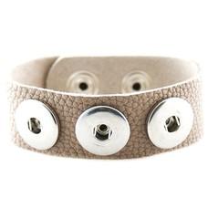 Clicks Sieraden Clicks armband nubuck leer grijs/beige