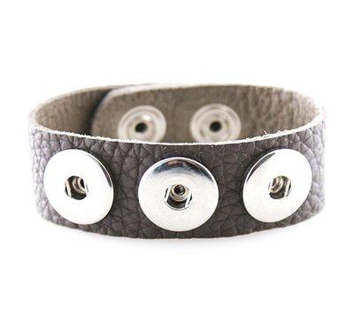 Clicks Sieraden Clicks armband lnubuck leer grijs