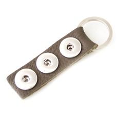 Clicks Sieraden Clicks sleutelhanger nubuck leer grijs lang