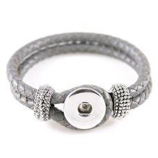 Clicks Sieraden Clicks knoop armband leer grijs