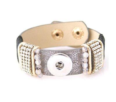 Clicks Sieraden Clicks armband loveley grijs met strass