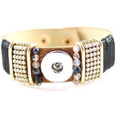 Clicks Sieraden Clicks armband lovely bruin met strass