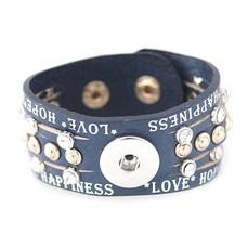 Clicks Sieraden Clicks armband leer donker blauw love hope happiness breed