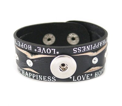 Clicks Sieraden Clicks armband leer zwart love hope happiness wave